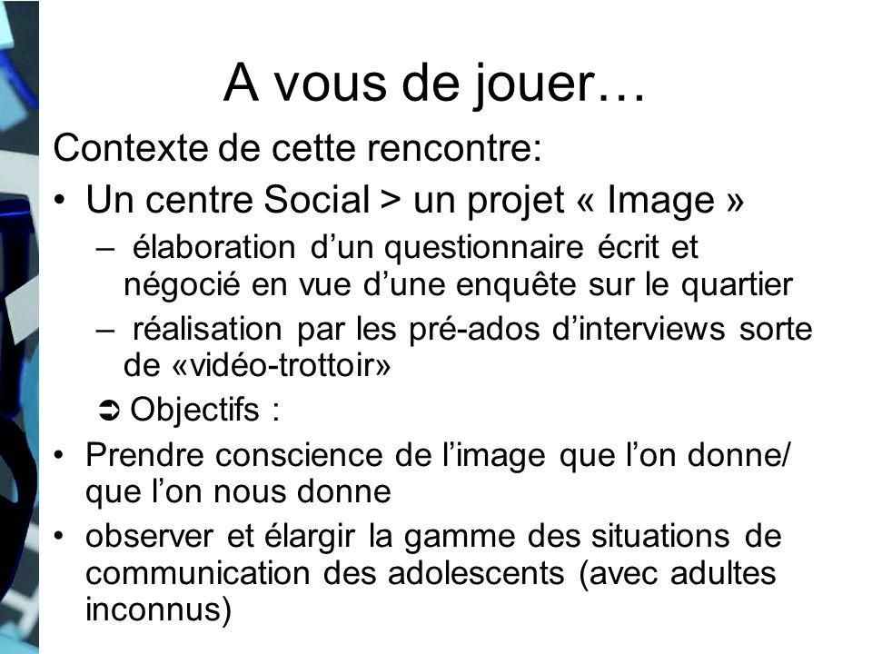 A vous de jouer… Contexte de cette rencontre: Un centre Social > un projet « Image » – élaboration dun questionnaire écrit et négocié en vue dune enqu