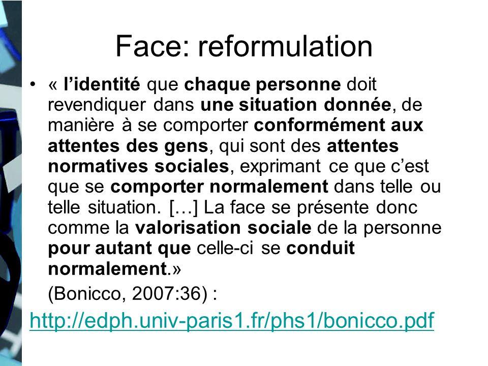 Face: reformulation « lidentité que chaque personne doit revendiquer dans une situation donnée, de manière à se comporter conformément aux attentes de