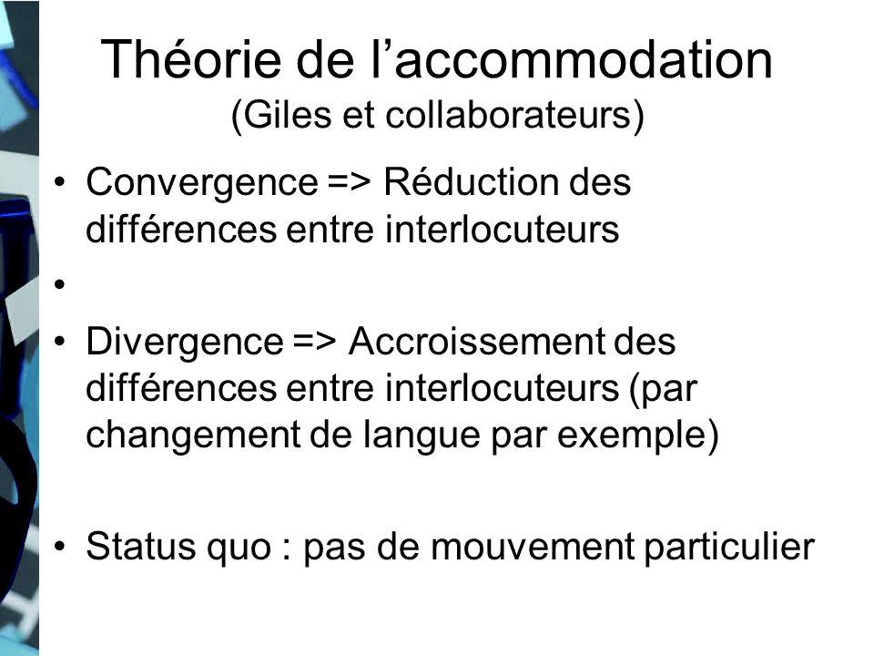 Théorie de laccommodation (Giles et collaborateurs) Convergence => Réduction des différences entre interlocuteurs Divergence => Accroissement des diff