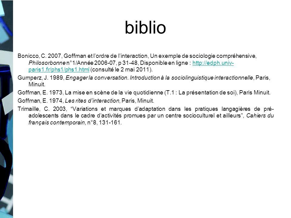 biblio Bonicco, C. 2007, Goffman et lordre de linteraction, Un exemple de sociologie compréhensive, Philosorbonne n°1/Année 2006-07, p 31-48, Disponib