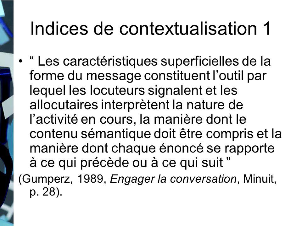 Indices de contextualisation 1 Les caractéristiques superficielles de la forme du message constituent loutil par lequel les locuteurs signalent et les