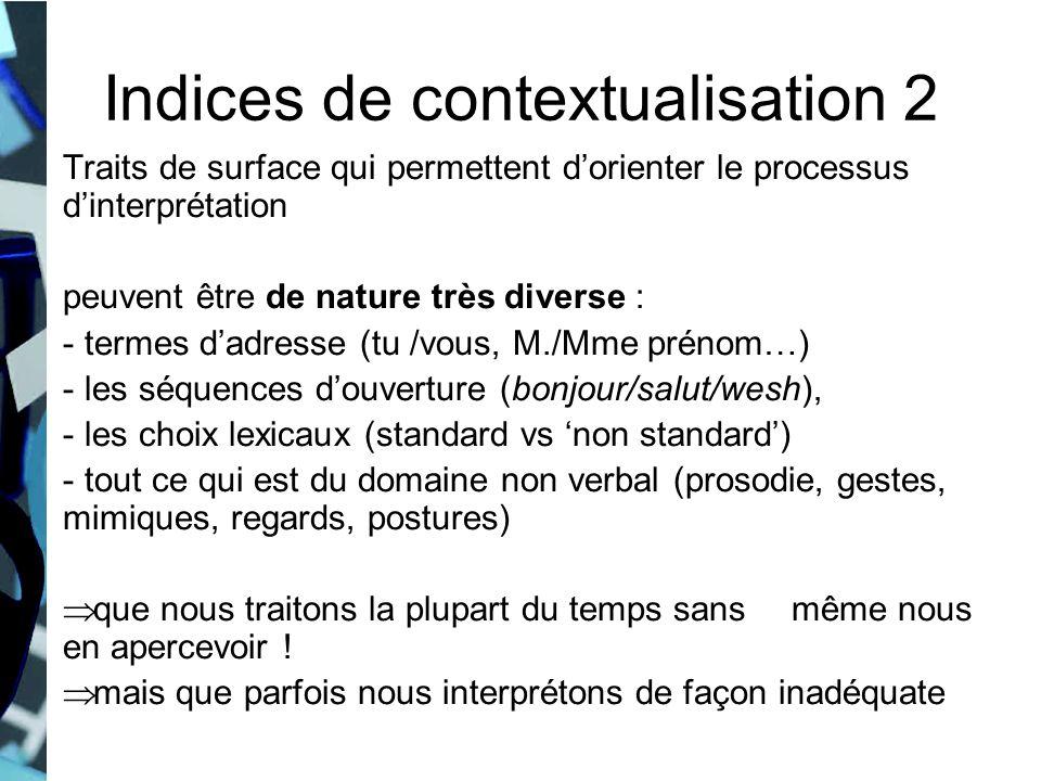 Traits de surface qui permettent dorienter le processus dinterprétation peuvent être de nature très diverse : - termes dadresse (tu /vous, M./Mme prén