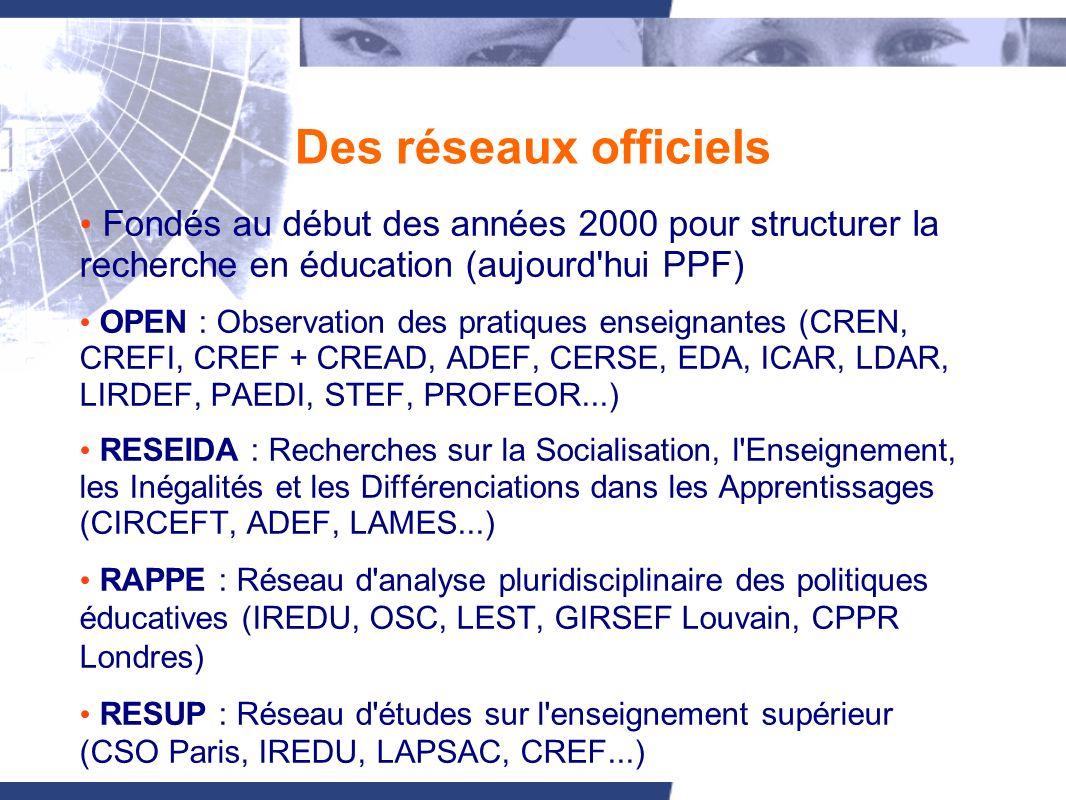 Des réseaux officiels Fondés au début des années 2000 pour structurer la recherche en éducation (aujourd hui PPF) OPEN : Observation des pratiques enseignantes (CREN, CREFI, CREF + CREAD, ADEF, CERSE, EDA, ICAR, LDAR, LIRDEF, PAEDI, STEF, PROFEOR...) RESEIDA : Recherches sur la Socialisation, l Enseignement, les Inégalités et les Différenciations dans les Apprentissages (CIRCEFT, ADEF, LAMES...) RAPPE : Réseau d analyse pluridisciplinaire des politiques éducatives (IREDU, OSC, LEST, GIRSEF Louvain, CPPR Londres) RESUP : Réseau d études sur l enseignement supérieur (CSO Paris, IREDU, LAPSAC, CREF...)