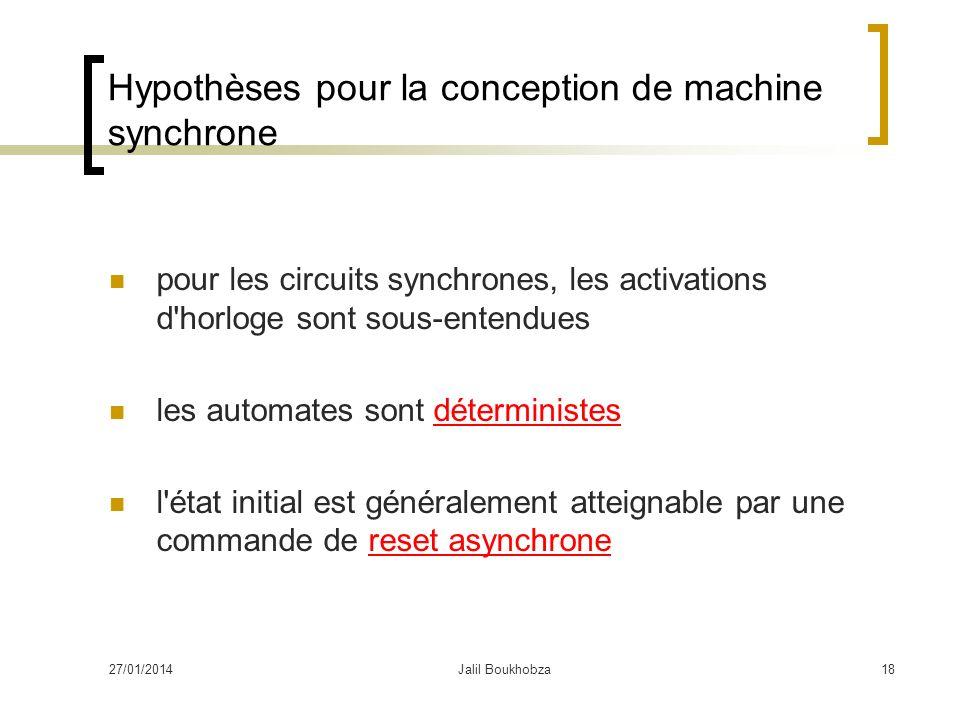 27/01/2014Jalil Boukhobza18 Hypothèses pour la conception de machine synchrone pour les circuits synchrones, les activations d'horloge sont sous-enten