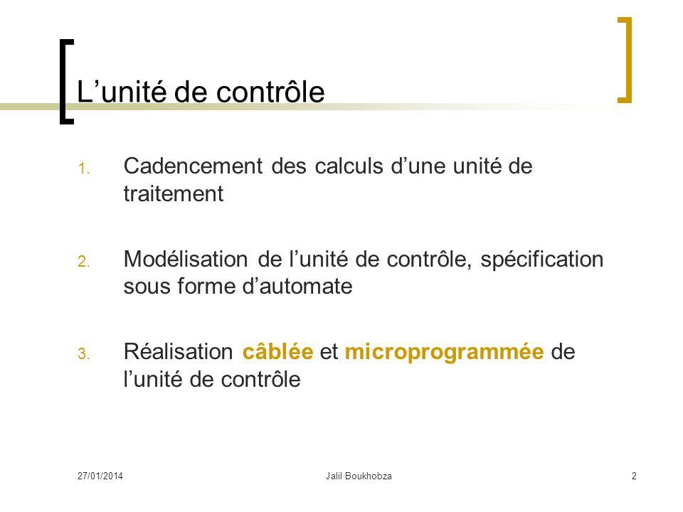 27/01/2014Jalil Boukhobza2 Lunité de contrôle 1. Cadencement des calculs dune unité de traitement 2. Modélisation de lunité de contrôle, spécification