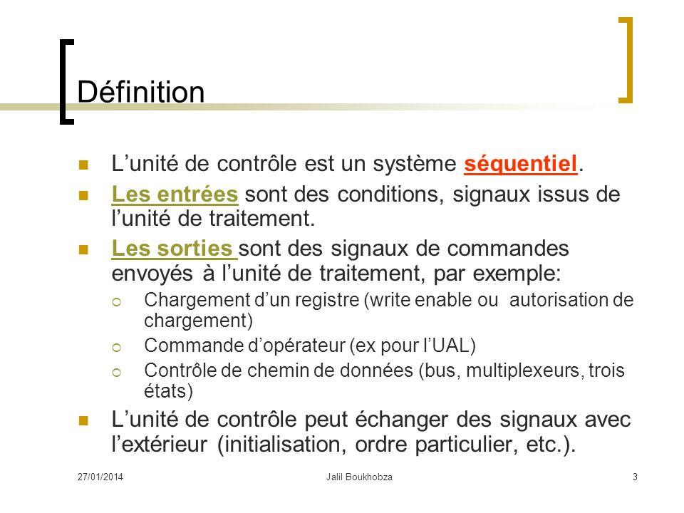 27/01/2014Jalil Boukhobza3 Définition Lunité de contrôle est un système séquentiel. Les entrées sont des conditions, signaux issus de lunité de traite