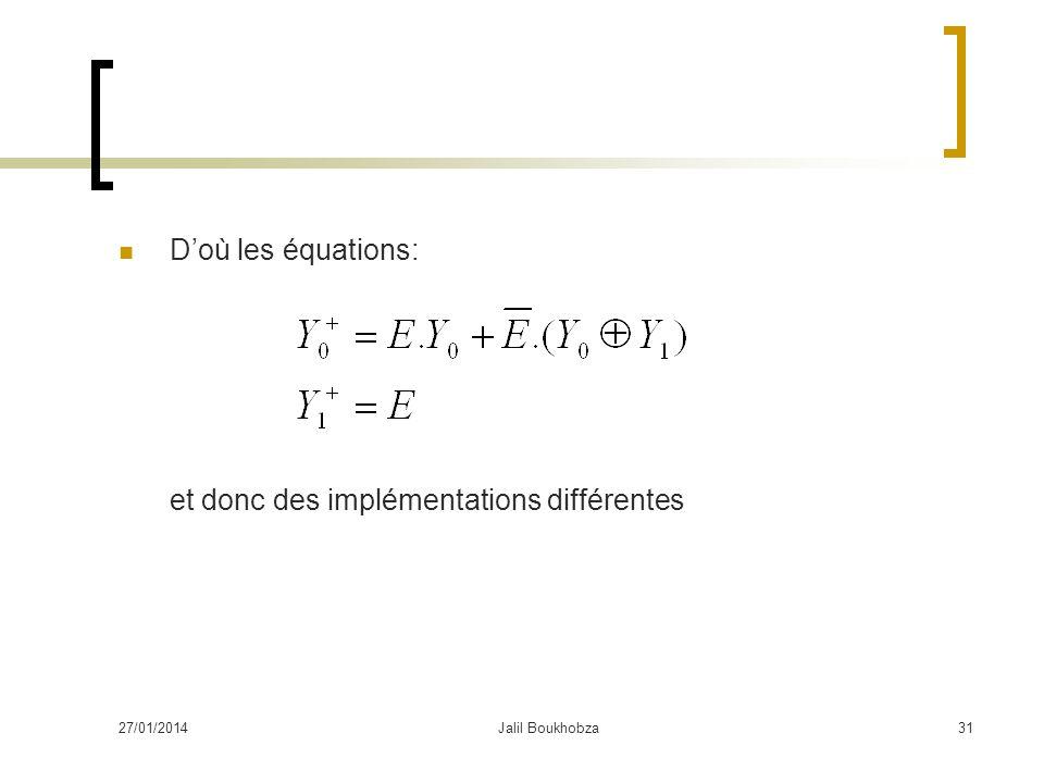 27/01/2014Jalil Boukhobza31 Doù les équations: et donc des implémentations différentes