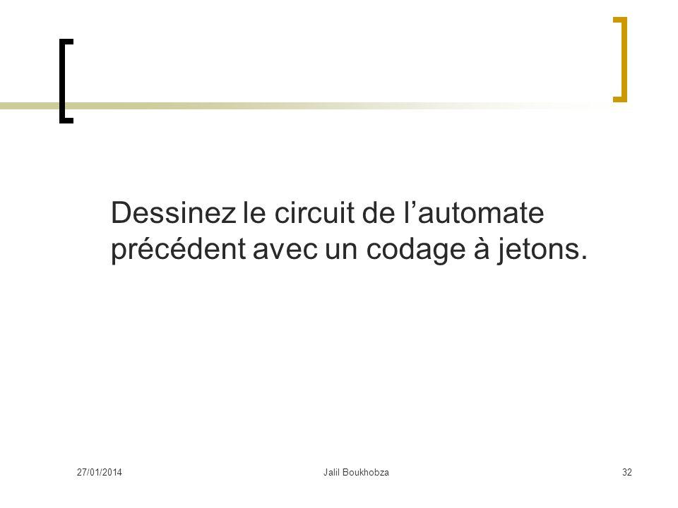 27/01/2014Jalil Boukhobza32 Dessinez le circuit de lautomate précédent avec un codage à jetons.