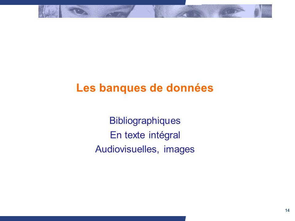 14 Les banques de données Bibliographiques En texte intégral Audiovisuelles, images