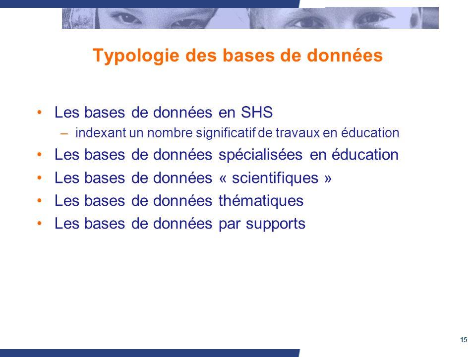 15 Typologie des bases de données Les bases de données en SHS –indexant un nombre significatif de travaux en éducation Les bases de données spécialisé