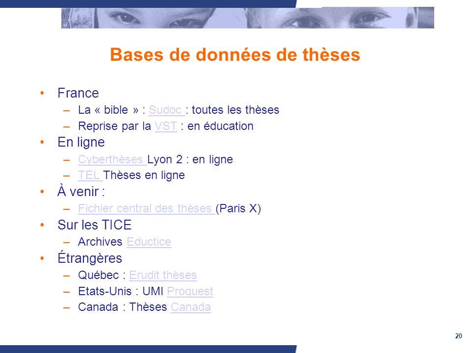 20 Bases de données de thèses France –La « bible » : Sudoc : toutes les thèsesSudoc –Reprise par la VST : en éducationVST En ligne –Cyberthèses Lyon 2