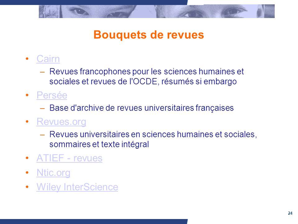 24 Bouquets de revues Cairn –Revues francophones pour les sciences humaines et sociales et revues de l'OCDE, résumés si embargo Persée –Base d'archive