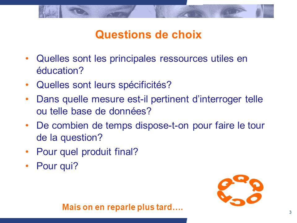 3 Questions de choix Quelles sont les principales ressources utiles en éducation? Quelles sont leurs spécificités? Dans quelle mesure est-il pertinent