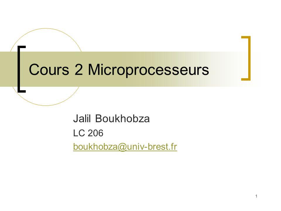 1 Cours 2 Microprocesseurs Jalil Boukhobza LC 206 boukhobza@univ-brest.fr