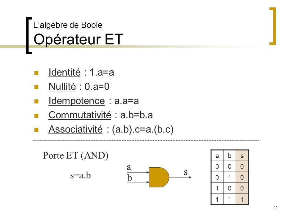 Lalgèbre de Boole Opérateur ET Identité : 1.a=a Nullité : 0.a=0 Idempotence : a.a=a Commutativité : a.b=b.a Associativité : (a.b).c=a.(b.c) Porte ET (AND) abs 000 010 100 111 a b s s=a.b 11