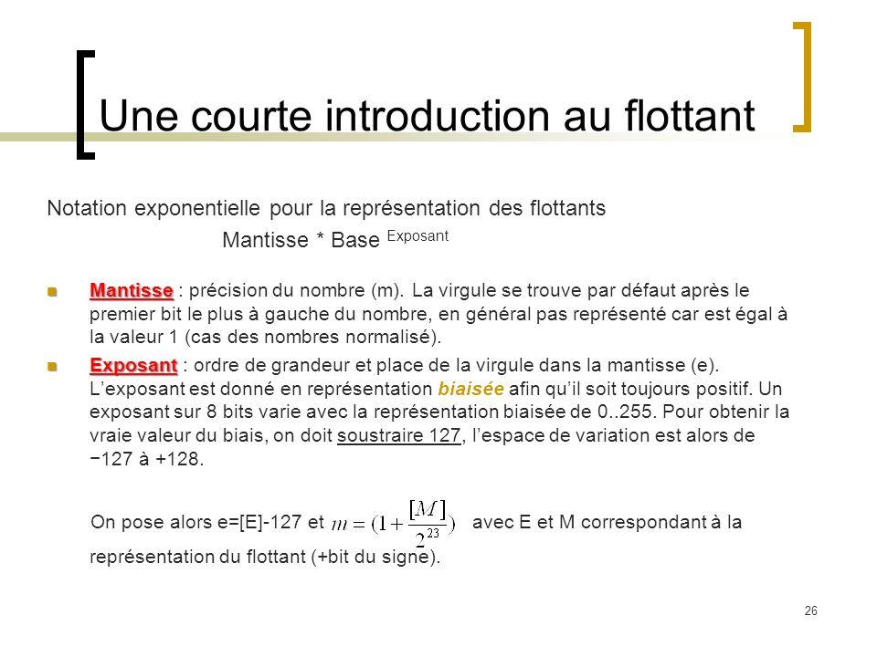 26 Une courte introduction au flottant Notation exponentielle pour la représentation des flottants Mantisse * Base Exposant Mantisse Mantisse : précision du nombre (m).