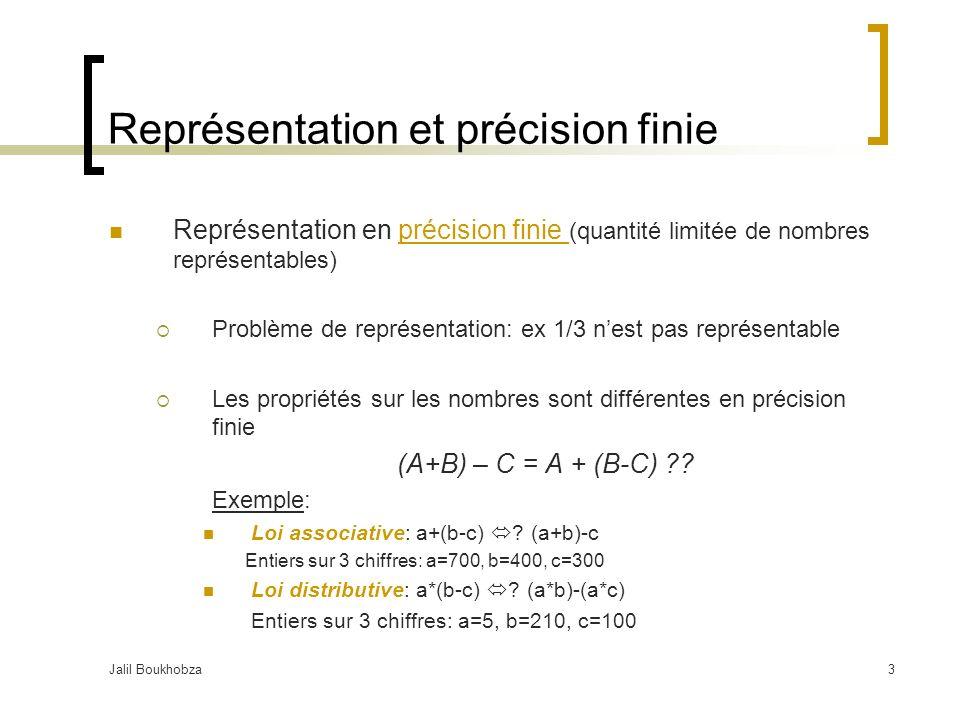 Jalil Boukhobza3 Représentation et précision finie Représentation en précision finie (quantité limitée de nombres représentables) Problème de représentation: ex 1/3 nest pas représentable Les propriétés sur les nombres sont différentes en précision finie (A+B) – C = A + (B-C) ?.