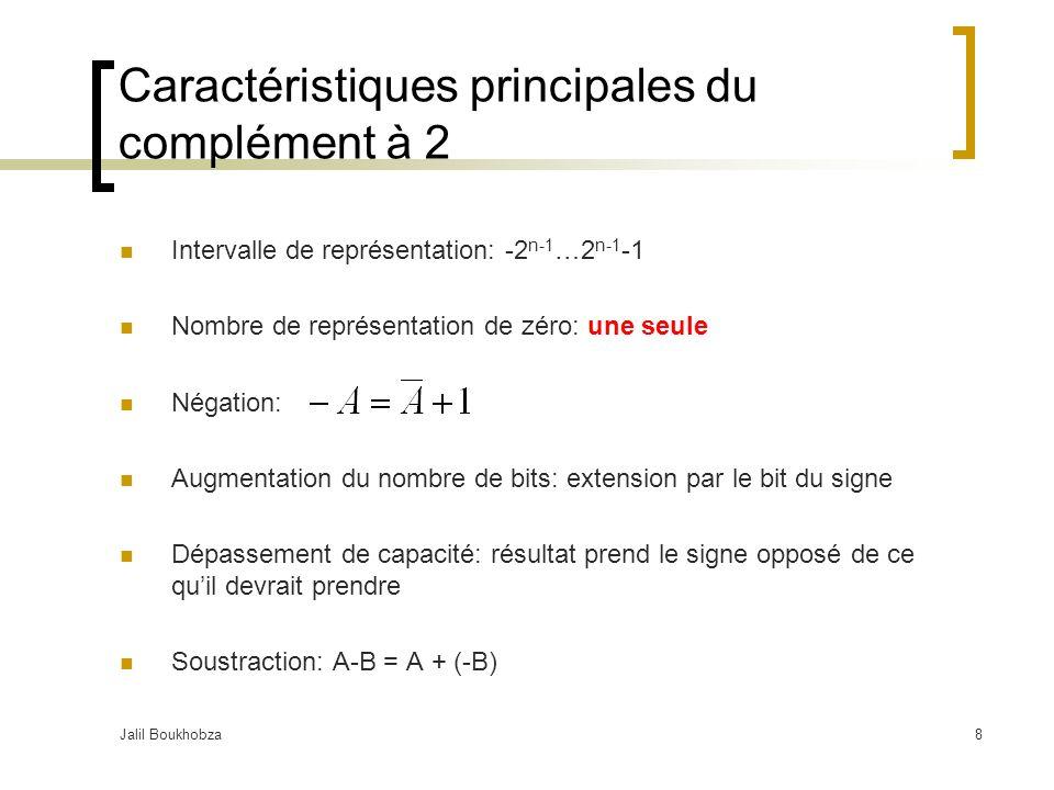 Jalil Boukhobza8 Caractéristiques principales du complément à 2 Intervalle de représentation: -2 n-1 …2 n-1 -1 Nombre de représentation de zéro: une seule Négation: Augmentation du nombre de bits: extension par le bit du signe Dépassement de capacité: résultat prend le signe opposé de ce quil devrait prendre Soustraction: A-B = A + (-B)