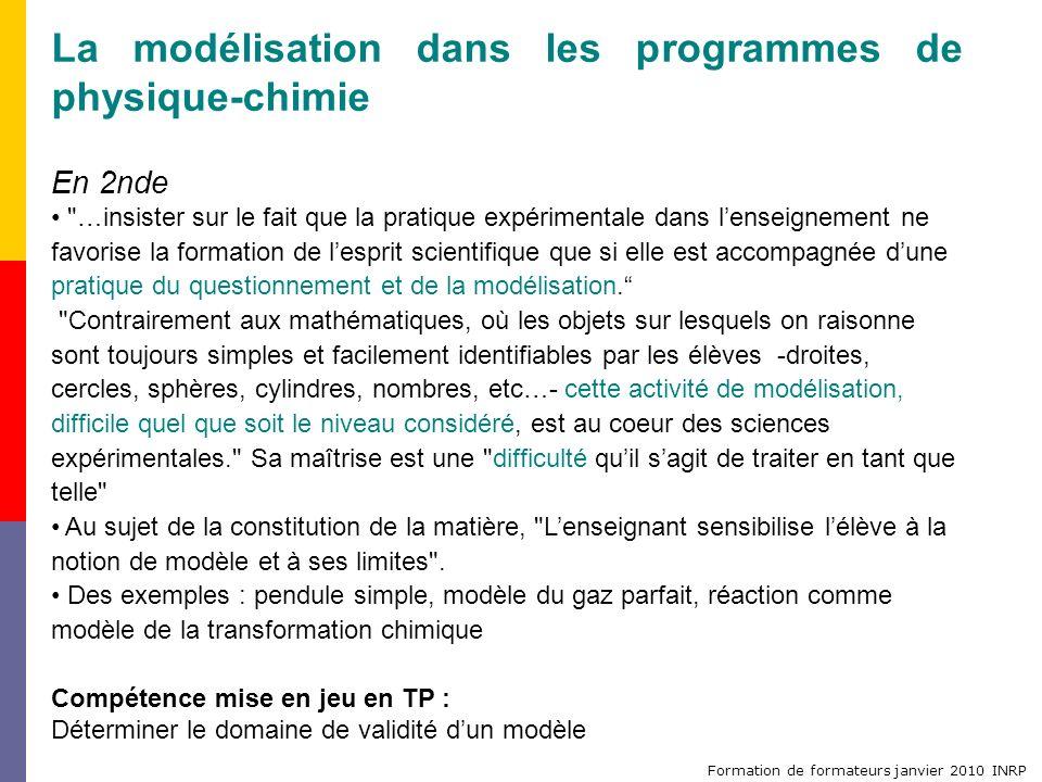 Formation de formateurs janvier 2010 INRP La modélisation dans les programmes de physique-chimie En 2nde