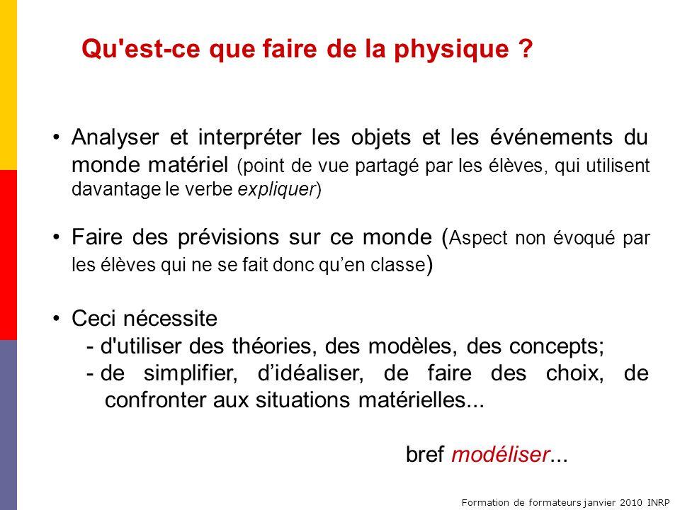 Formation de formateurs janvier 2010 INRP Qu'est-ce que faire de la physique ? Analyser et interpréter les objets et les événements du monde matériel