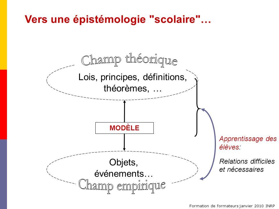 Formation de formateurs janvier 2010 INRP Vers une épistémologie
