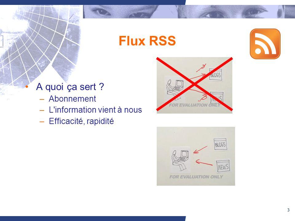 3 Flux RSS A quoi ça sert –Abonnement –L information vient à nous –Efficacité, rapidité