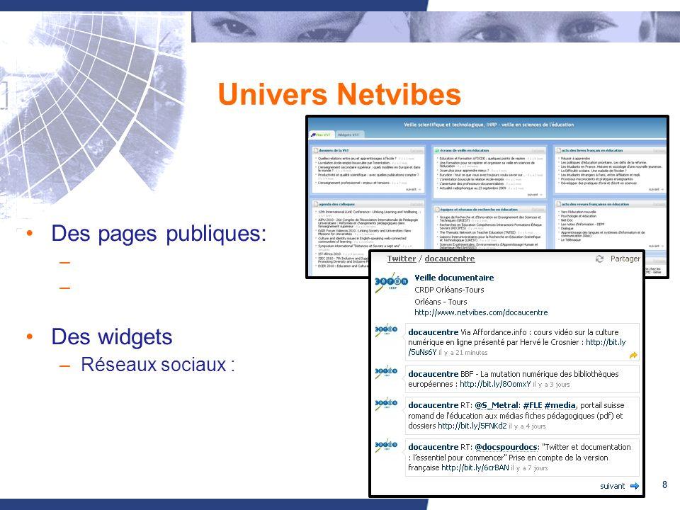 8 Univers Netvibes Des pages publiques: – Des widgets –Réseaux sociaux :