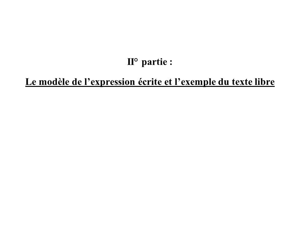II° partie : Le modèle de lexpression écrite et lexemple du texte libre