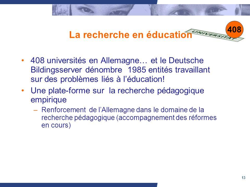 13 La recherche en éducation 408 universités en Allemagne… et le Deutsche Bildingsserver dénombre 1985 entités travaillant sur des problèmes liés à léducation.