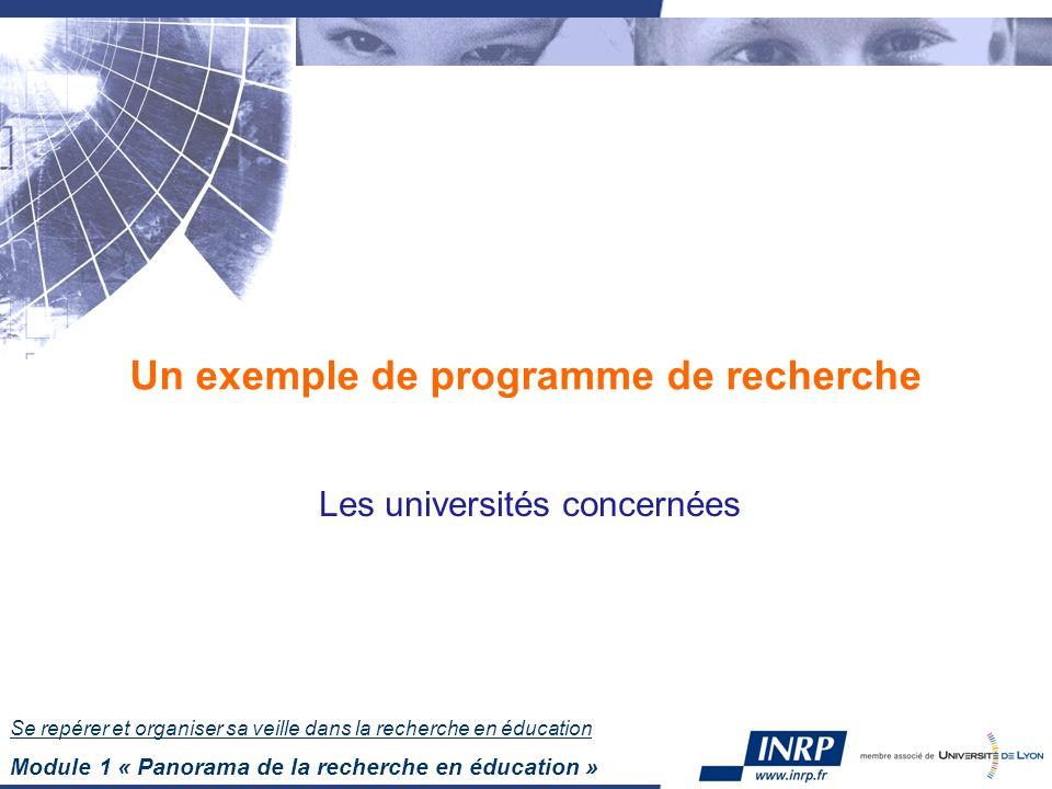 Se repérer et organiser sa veille dans la recherche en éducation Module 1 « Panorama de la recherche en éducation » Un exemple de programme de recherche Les universités concernées