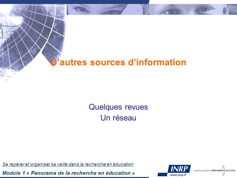 Se repérer et organiser sa veille dans la recherche en éducation Module 1 « Panorama de la recherche en éducation » Dautres sources dinformation Quelques revues Un réseau