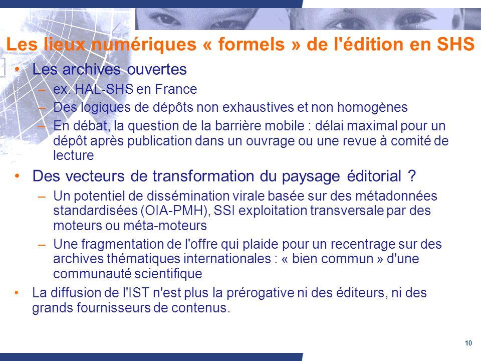 10 Les lieux numériques « formels » de l'édition en SHS Les archives ouvertes –ex. HAL-SHS en France –Des logiques de dépôts non exhaustives et non ho