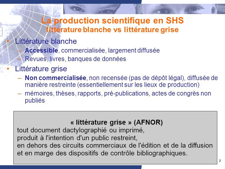 2 La production scientifique en SHS littérature blanche vs littérature grise Littérature blanche –Accessible, commercialisée, largement diffusée –Revu