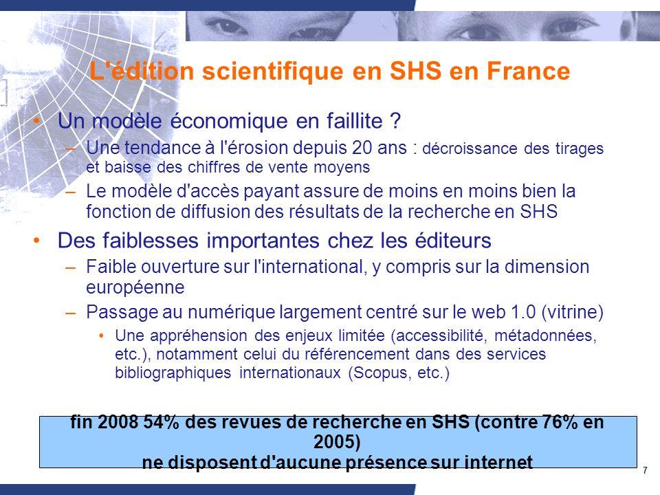 7 L'édition scientifique en SHS en France Un modèle économique en faillite ? –Une tendance à l'érosion depuis 20 ans : décroissance des tirages et bai