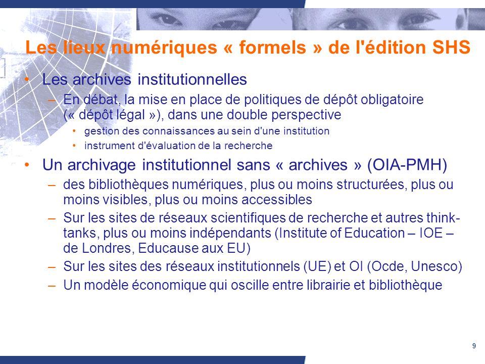 9 Les lieux numériques « formels » de l'édition SHS Les archives institutionnelles –En débat, la mise en place de politiques de dépôt obligatoire (« d