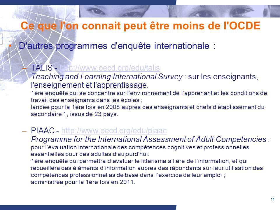 11 Ce que l on connait peut être moins de l OCDE D autres programmes d enquête internationale : –TALIS - http://www.oecd.org/edu/talis Teaching and Learning International Survey : sur les enseignants, l enseignement et l apprentissage.