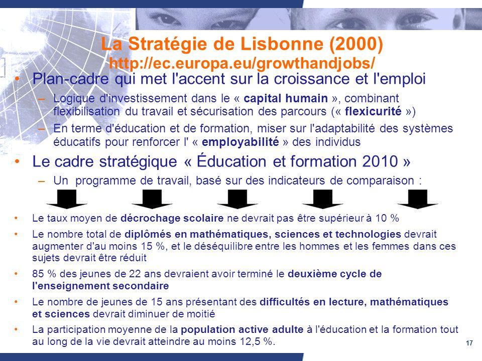 17 La Stratégie de Lisbonne (2000) http://ec.europa.eu/growthandjobs/ Plan-cadre qui met l accent sur la croissance et l emploi –Logique d investissement dans le « capital humain », combinant flexibilisation du travail et sécurisation des parcours (« flexicurité ») –En terme d éducation et de formation, miser sur l adaptabilité des systèmes éducatifs pour renforcer l « employabilité » des individus Le cadre stratégique « Éducation et formation 2010 » –Un programme de travail, basé sur des indicateurs de comparaison : Le taux moyen de décrochage scolaire ne devrait pas être supérieur à 10 % Le nombre total de diplômés en mathématiques, sciences et technologies devrait augmenter d au moins 15 %, et le déséquilibre entre les hommes et les femmes dans ces sujets devrait être réduit 85 % des jeunes de 22 ans devraient avoir terminé le deuxième cycle de l enseignement secondaire Le nombre de jeunes de 15 ans présentant des difficultés en lecture, mathématiques et sciences devrait diminuer de moitié La participation moyenne de la population active adulte à l éducation et la formation tout au long de la vie devrait atteindre au moins 12,5 %.