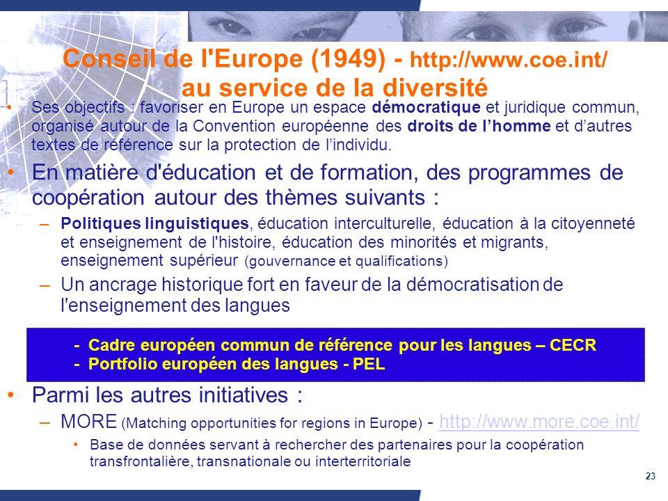 23 Conseil de l Europe (1949) - http://www.coe.int/ au service de la diversité Ses objectifs : favoriser en Europe un espace démocratique et juridique commun, organisé autour de la Convention européenne des droits de lhomme et dautres textes de référence sur la protection de lindividu.