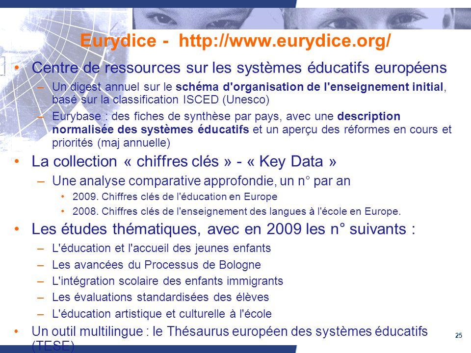 25 Eurydice - http://www.eurydice.org/ Centre de ressources sur les systèmes éducatifs européens –Un digest annuel sur le schéma d organisation de l enseignement initial, basé sur la classification ISCED (Unesco) –Eurybase : des fiches de synthèse par pays, avec une description normalisée des systèmes éducatifs et un aperçu des réformes en cours et priorités (maj annuelle) La collection « chiffres clés » - « Key Data » –Une analyse comparative approfondie, un n° par an 2009.