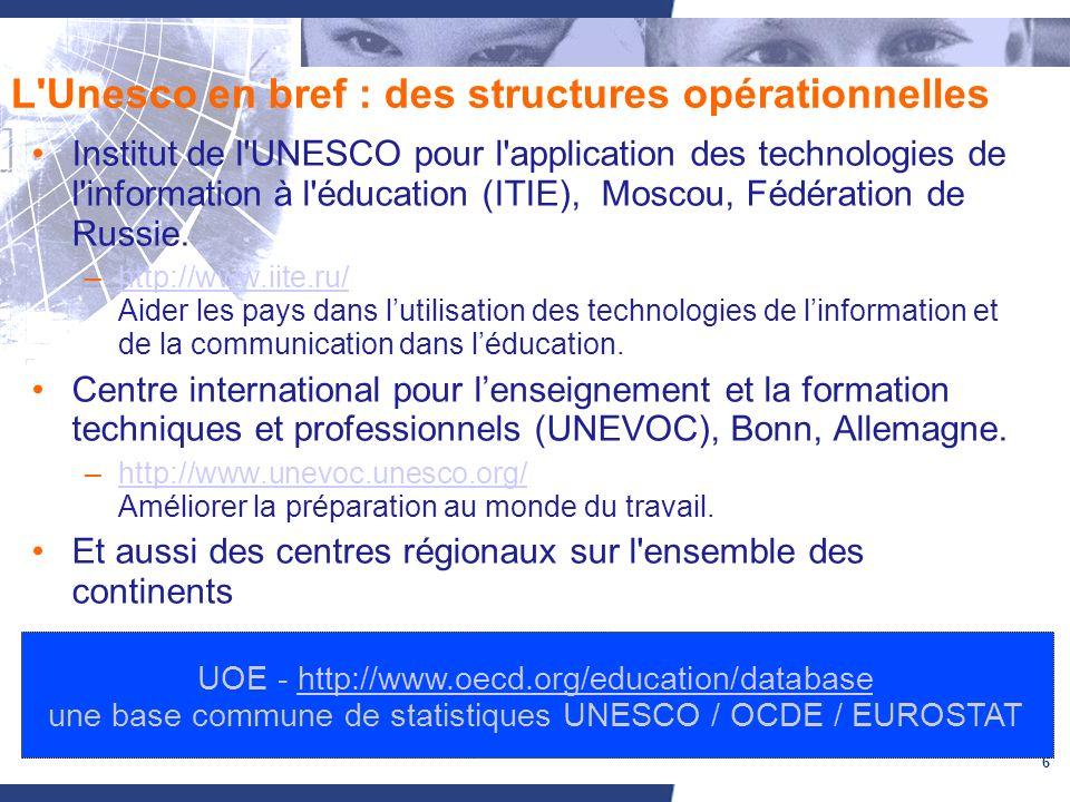 6 L Unesco en bref : des structures opérationnelles Institut de l UNESCO pour l application des technologies de l information à l éducation (ITIE), Moscou, Fédération de Russie.