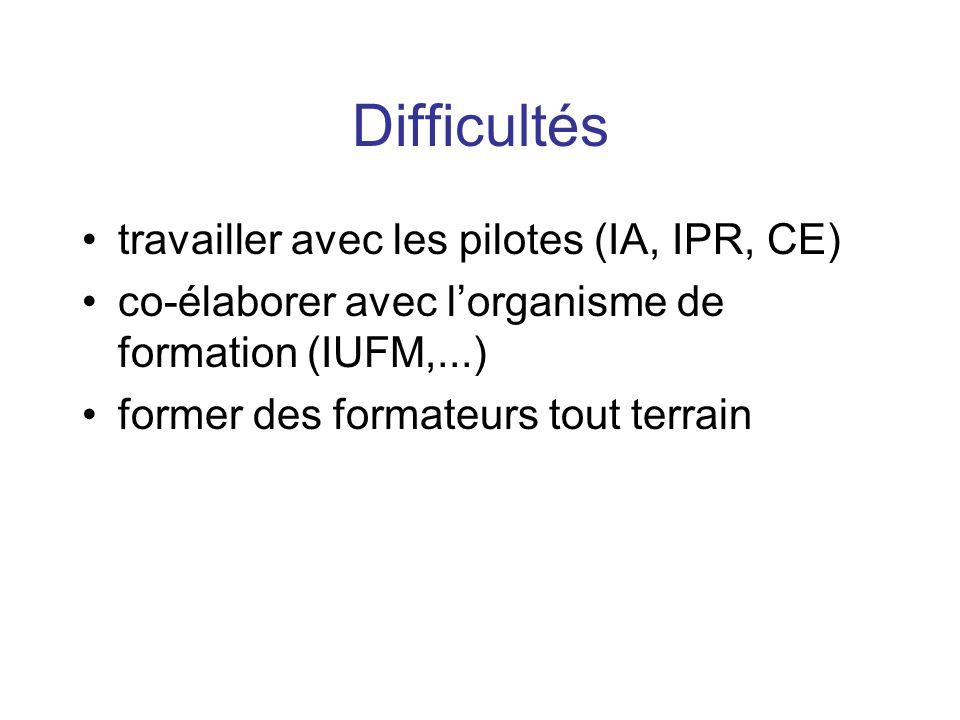 Difficultés travailler avec les pilotes (IA, IPR, CE) co-élaborer avec lorganisme de formation (IUFM,...) former des formateurs tout terrain