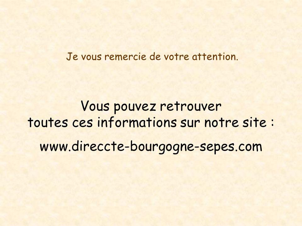 Je vous remercie de votre attention. Vous pouvez retrouver toutes ces informations sur notre site : www.direccte-bourgogne-sepes.com