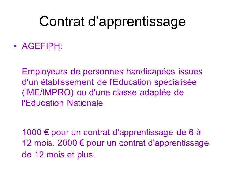 Contrat dapprentissage AGEFIPH: CDI ou CDD supérieur ou égal à 12 mois à lissue dun contrat dapprentissage 2 000 euros pour un contrat à temps plein 1000 euros pour un contrat de 16 heures