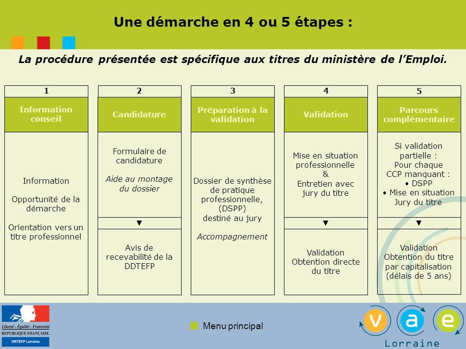 Menu principal Une démarche en 4 ou 5 étapes : La procédure présentée est spécifique aux titres du ministère de lEmploi. 1 Information conseil Informa