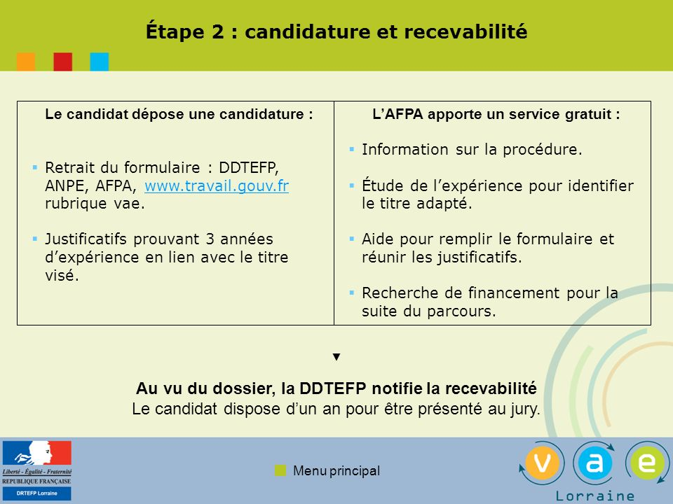 Menu principal Étape 2 : candidature et recevabilité Le candidat dépose une candidature : Retrait du formulaire : DDTEFP, ANPE, AFPA, www.travail.gouv