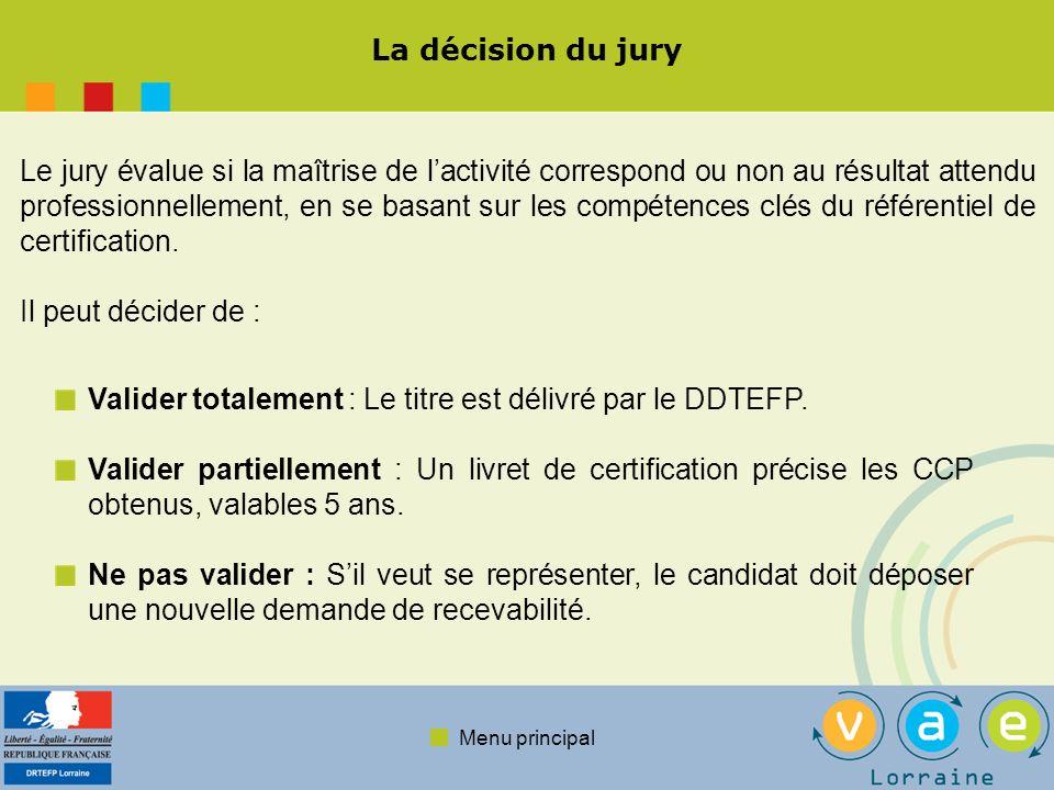 Menu principal La décision du jury Le jury évalue si la maîtrise de lactivité correspond ou non au résultat attendu professionnellement, en se basant