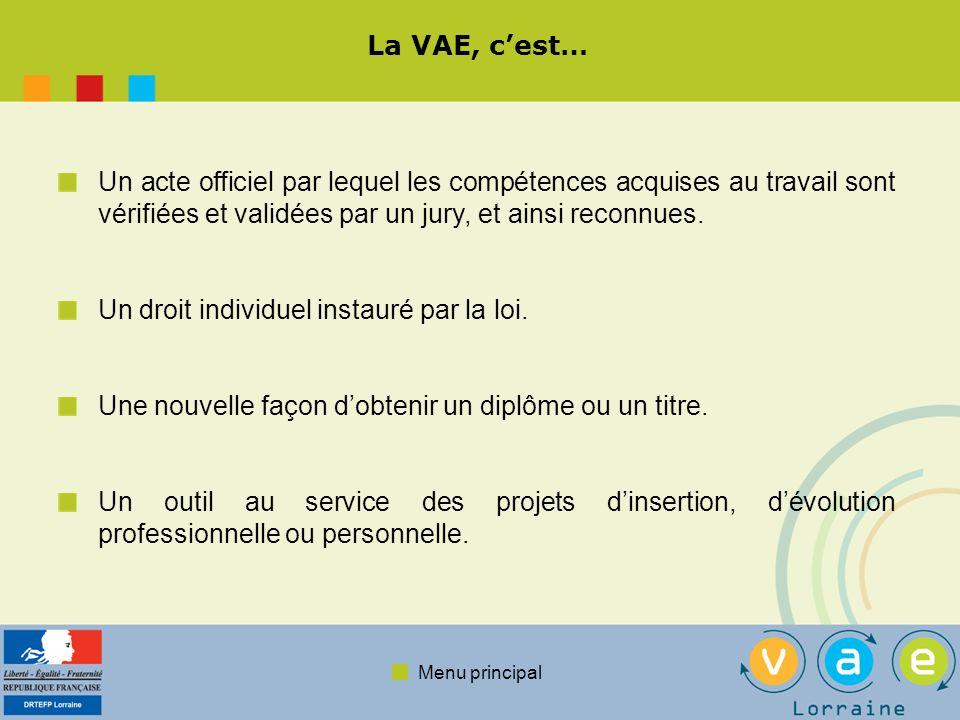Menu principal La VAE, cest… Un acte officiel par lequel les compétences acquises au travail sont vérifiées et validées par un jury, et ainsi reconnue