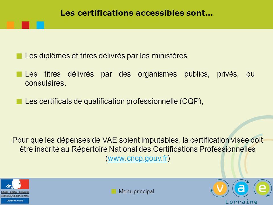 Menu principal Les certifications accessibles sont… Les diplômes et titres délivrés par les ministères. Les titres délivrés par des organismes publics