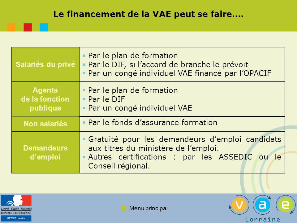 Menu principal Le financement de la VAE peut se faire…. Salariés du privé Par le plan de formation Par le DIF, si laccord de branche le prévoit Par un
