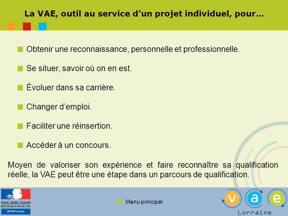 Menu principal La VAE, outil au service dun projet individuel, pour… Obtenir une reconnaissance, personnelle et professionnelle. Se situer, savoir où